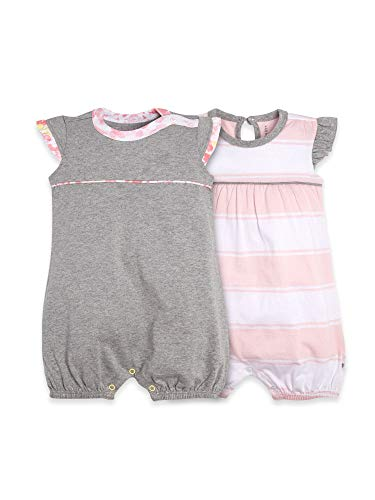 Burt's Bees Baby Baby Girls Rompers, Set of 2 Bubbles, One Piece Jumpsuits, 100% Organic Cotton, Grey/Pink Stripe, 6-9 Months