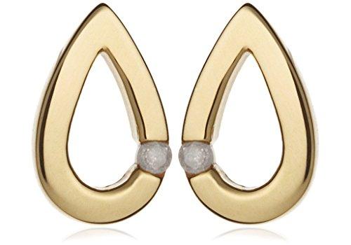 Jewellery World Bague en or jaune 9carats en forme de goutte Boucles d'oreille à tige avec diamants