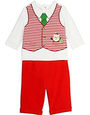 Baby-Boys Santa Christmas Vested Pant Set