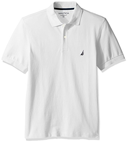 Nautica Men's Short Sleeve Solid Cotton Pique Polo Shirt, Bright White, X-Large