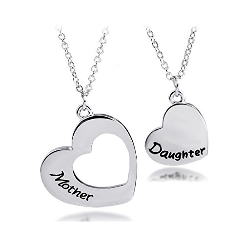 KUIYAI Mother Daughter Necklace Set of 2 Matching Heart Mom and Me Jewelry (Mother Daughter -