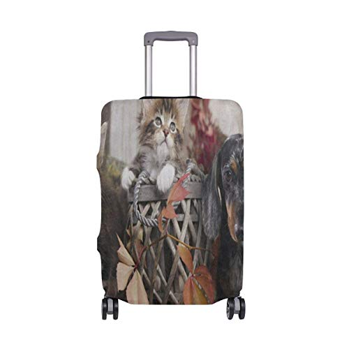 Suitcase Cover Autumn Maple Leaves Cat Kitten Dachund Dog Luggage Cover Travel Case Bag Protector for Kid Girls