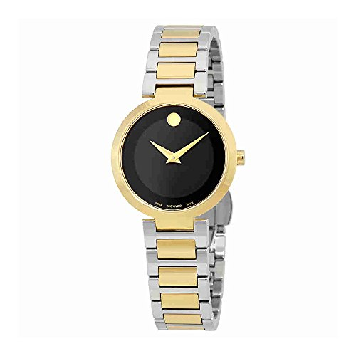 Movado Modern Classic Black Dial Two-tone Ladies Watch 0607102