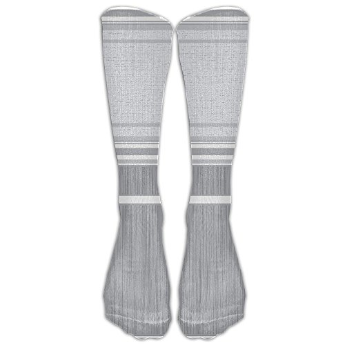 Over The Calf Tube Ankle Socks Knee Length Wide Light Gray White And Metallic Silver Grey Striped Sock Sport Legs/Boots Knee High (Gray Striped Team Colors)