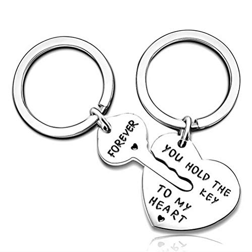 (Pengxiaomei 2 Pieces Silver Couple Keychains, Stainless Steel Lovers Key Rings Include You Hold The Key to My Heart and)