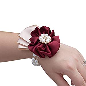Flonding Wedding Bridal Wrist Corsage Bride Wrist Flower Corsages Pearl Stretch Bracelet Wristband for Girl Bridesmaid Prom Homecoming Hand Flowers Decor Wine Red 111