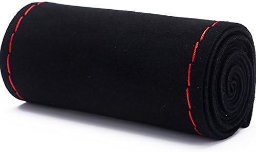 Xuanmax Diy Handgenähtes Lenkradbezug Wildleder Universal 38cm Perforiert Lenkradhülle Hand Nähen Stich Nubuk Lenkradschoner Auto Lenkrad Abdeckung Lenkradabdeckung Lenkradschutz Rot Linie Auto