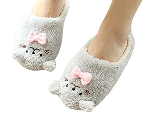 Auspicious beginning Women Girls Lovely Animal Printed Ankle Slippers Soft Sole Bedroom Indoor Booties Shoes Grey
