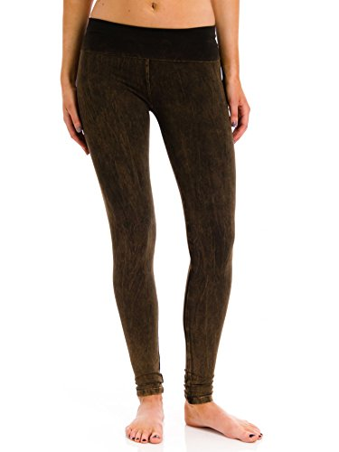 T Party Mineral Washed Foldover Leggings, Brown, - Spandex Embroidered Leggings