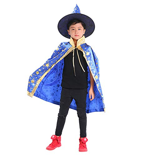 Dreamyth Cool Childrens' Halloween Costume Wizard Witch Cloak Cape Robe and Hat for Boy Girl (Blue -