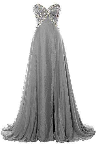 MACloth Women Strapless Prom Dress Crystals Chiffon Long Formal Evening Gown Plateado