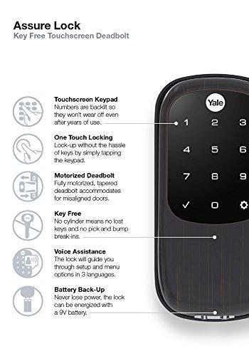 Yale Real Living Key Free Touchscreen Z-Wave Plus Smart Deadbolt