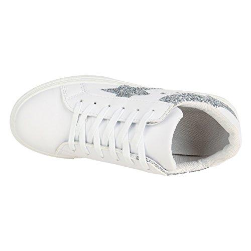 0d3bb0d64a9712 ... Damen Sneaker Low Basic Sneakers Lack Metallic Turnschuhe Glitzer Schuhe  Snake Sportschuhe Leder-Optik Denim