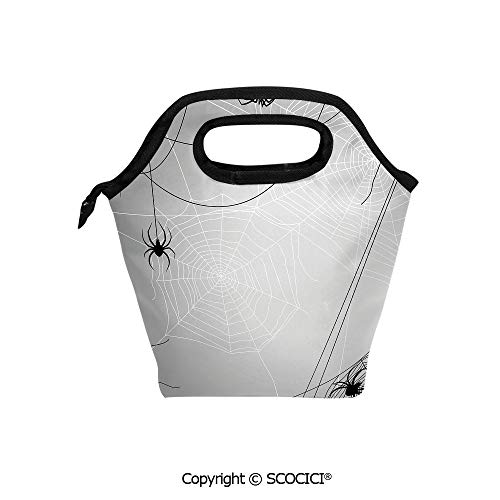 Portable thickening insulation tape Lunch bag Spiders Hanging from Webs Halloween Inspired Design Dangerous Cartoon Icon Decorative for student cute girls mummy -