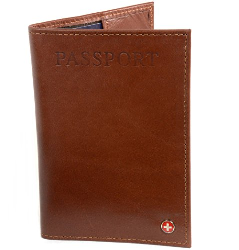 Alpine Swiss Men's RFID Blocking Leather Passport Cover ID Protection Travel Case, Brown