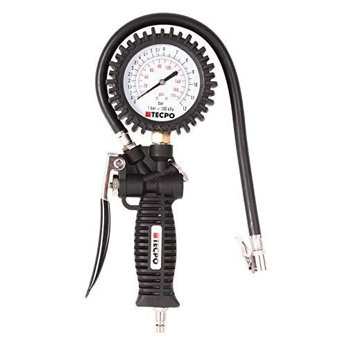 TECPO Druckluft Reifenf/üller 0-12 Bar Reifenf/üllpistole 0-170 PSI Reifen Messger/ät 1//4 Luftdruck Anschluss