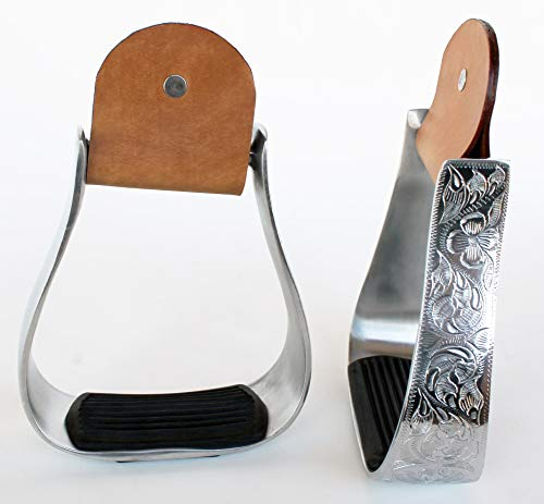 ProRider Western Horse Saddle Stirrups Light Weight Aluminum Rubber Pad Engraved ()