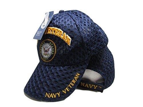 Navy USN Veteran Vet Textured Mesh Ball Cap Embroidered 3D (Licensed) ()