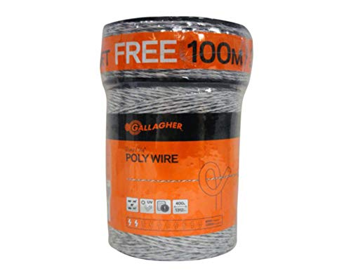 "Gallagher Electric Fence Poly Wire | Bonus Pack - 1312 Ft Plus Free 328 Ft Roll | 6 Stainless Steel Strands for Reliable Conductivity and Rust Resistance | 1/16"" Diameter Polywire 