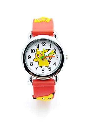 Pokemon Kids Watch Pikachu Watch Wristwatch Gift Set for Kids, Boys or Girls (Red) -
