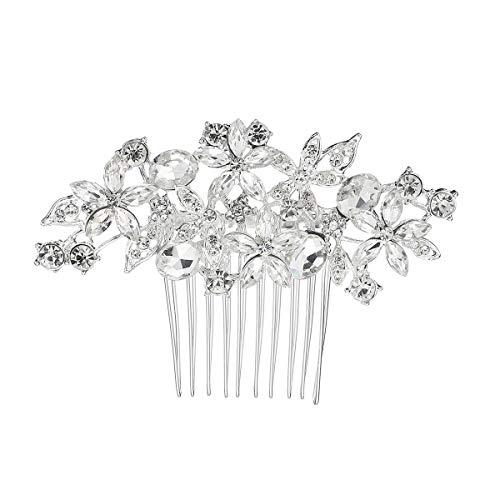 Wedding Hair Comb, Silver Rhinestone Floral Hair Comb, Fashion Crystal Bridal Hair Comb for Bridal and Bridesmaids (Silver)