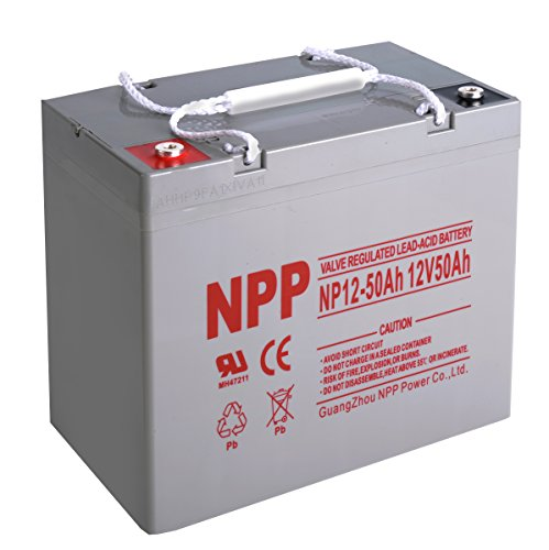 NPP 12V 50 Amp 50Ah Rechargeable AGM SLA Sealed Lead Acid Battery With Button Style Terminals by NPP