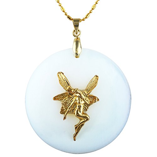 SUNYIK Round Opalite Pendant Necklace with ()