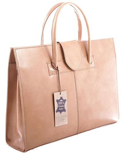 Mano de la mujer bolso de la cartera del bolso de hombro y carteras, 100% cuero auténtico Made in Italy Beige