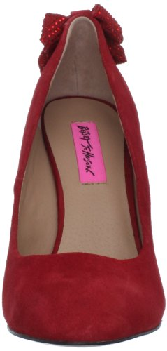 Betsey Johnson Womens Chedge Wedge Pump In Pelle Scamosciata Rossa