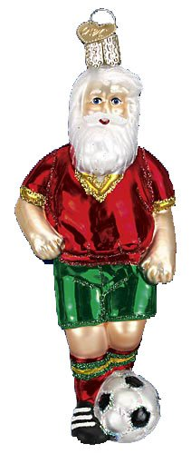 Old World Christmas Soccer Santa Glass Ornament by Old World