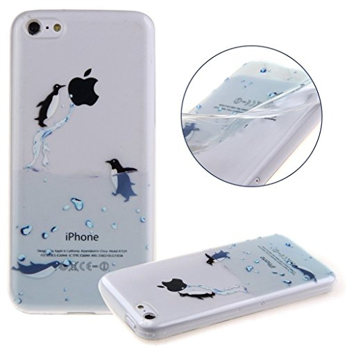 iPhone 5C Cover , YIGA Pinguino Nero Bianco Blu Trasparente Silicone Cristallo Morbido TPU Case Custodia per Apple iPhone 5C