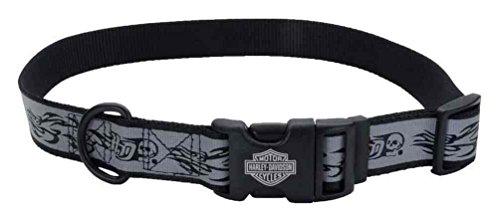 Harley-Davidson 5/8in Adjustable Reflective Skull & Flames Collar, SM/MD 18in. ()