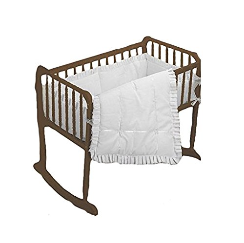 bkb Simplicity Cradle Bedding with Extra Sheet, White, 18'' x 36''