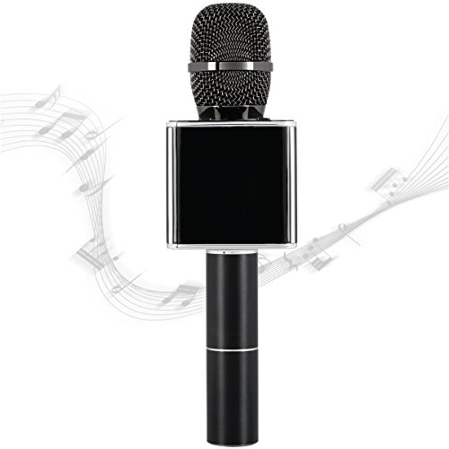 Sharper Image Bluetooth Music Stream Microphone, Pairs With iPhone/Android Smartphone/Tablet, Charges W/ Micro USB Cable, Built-In Speaker Plus Echo Control by Sharper Image