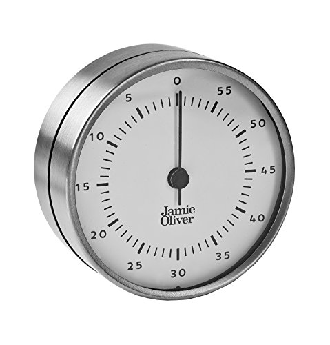 (Jamie Oliver Magnetic Kitchen Timer with Manual Wind Up and Loud Ring - Stainless Steel)