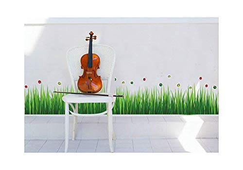 Alrens_DIY(TM) Cute Ladybugs Green Grass DIY Vinyl Baseboard Wall Sticker Home Decoration Kids Nursery Room Kindergarten Mural Living Room Decorative Decal ()