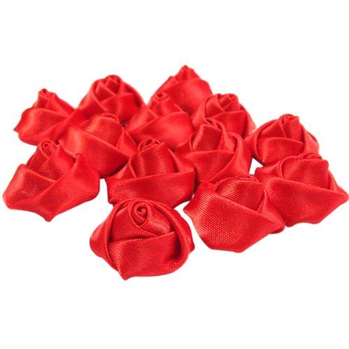 (AllyDrew Satin Rose Ribbons Flower Ribbons (Red, 0.75)
