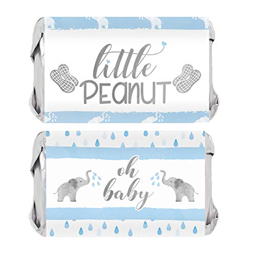 Blue Elephant Baby Shower Mini Candy Bar Wrappers - 45 Stickers