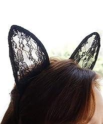 Ariana Grande Lace Cat Ears, Black Cat, ...