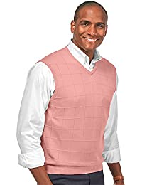 Paul Fredrick Men's Silk Grid V-Neck Pullover Vest