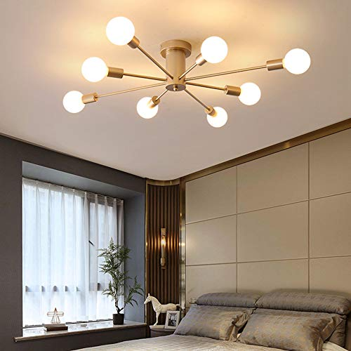 Golden Bronze Bowl Pendant - Sheen Modern Ceiling Light Fixture,8 Lights Semi-Flush Mount E26 Base Globe Shape Pendant Lighting Bedroom Dining Room Ceiling lamp 95x15cm-Golden