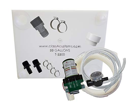 Class A Customs 33 Gallon Water Tank & Plumbing Kit & WFCO 12 Volt Pump T-3300-BPK-12WFCO