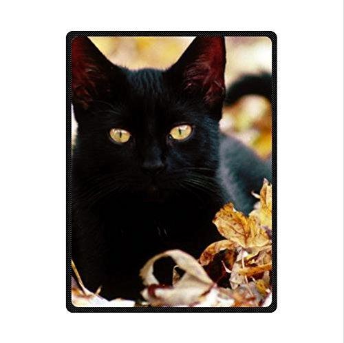 (Best Seller Cat Pattern Design,Black Cat Custom Fleece Blanket 58 x 80 (Large))