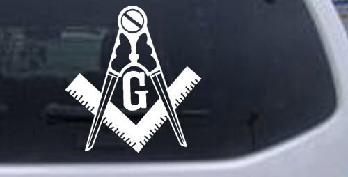 Masonic Square and Compass Car Window Wall Laptop Decal Sticker -- White 3in X 2.8in