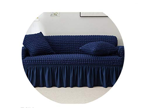 sensitives Slipcover Popcorn Plaid Sofa Cover Tight wrap All Inclusive Elastic Couch Cover with Skirt Armchair/loveseat Furniture Covers,Blue,Three-seat Sofa (Covers Outdoor Kmart Furniture)