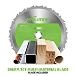 Evolution Power Tools F210SMS Sliding Mitre Saw with Multi-Material Cutting, 45 Degree Bevel, 50 Degree Mitre, 230 mm…