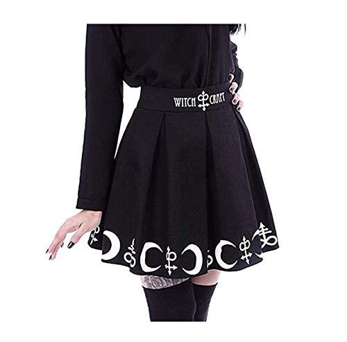 Emb Pocket - TANLANG Ladies Black Moon Print Punk Gothic Pleated Skirt Gown Prom Dress Mini Casual Evening Dress