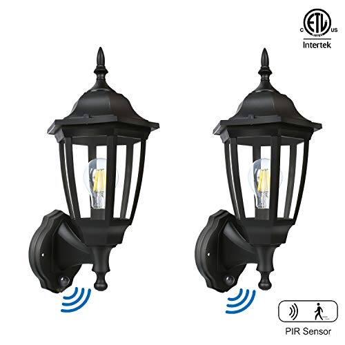 FUDESY 2-Pack Motion Sensor Outdoor Wall Lanterns,Corded-Electric Plastic Security Lights with 120° Wide Angle,Waterproof IP44,Smart LED Porch Light Fixtures for Garage,Yard,Front Door,FDS2542EPIRB2 (Fountains Yard Front For Sale)