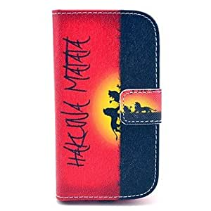 Hakuna Matata Pattern PU Leather Case with Card Slot and Stand for Samsung Galaxy S3 mini I8190