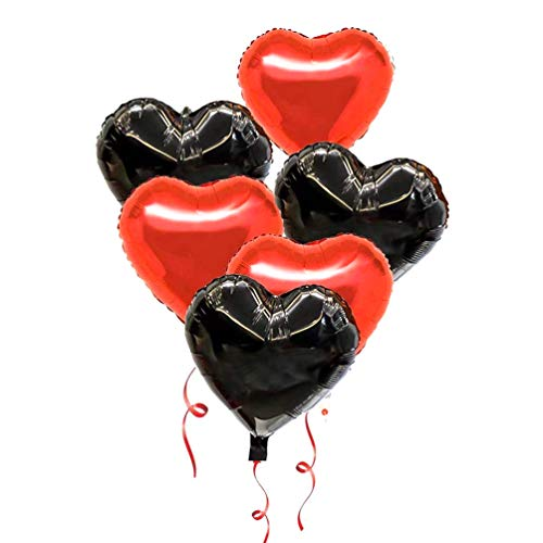 AZOWA 30 Pcs Heart Balloons 18 inch Foil Mylar Helium Balloon Black and Red Heart Shaped Balloons for Valentine's Bridal Shower Engagement Wedding Birthday Party Décor (15 Black and 15 Red, 18 in) ()
